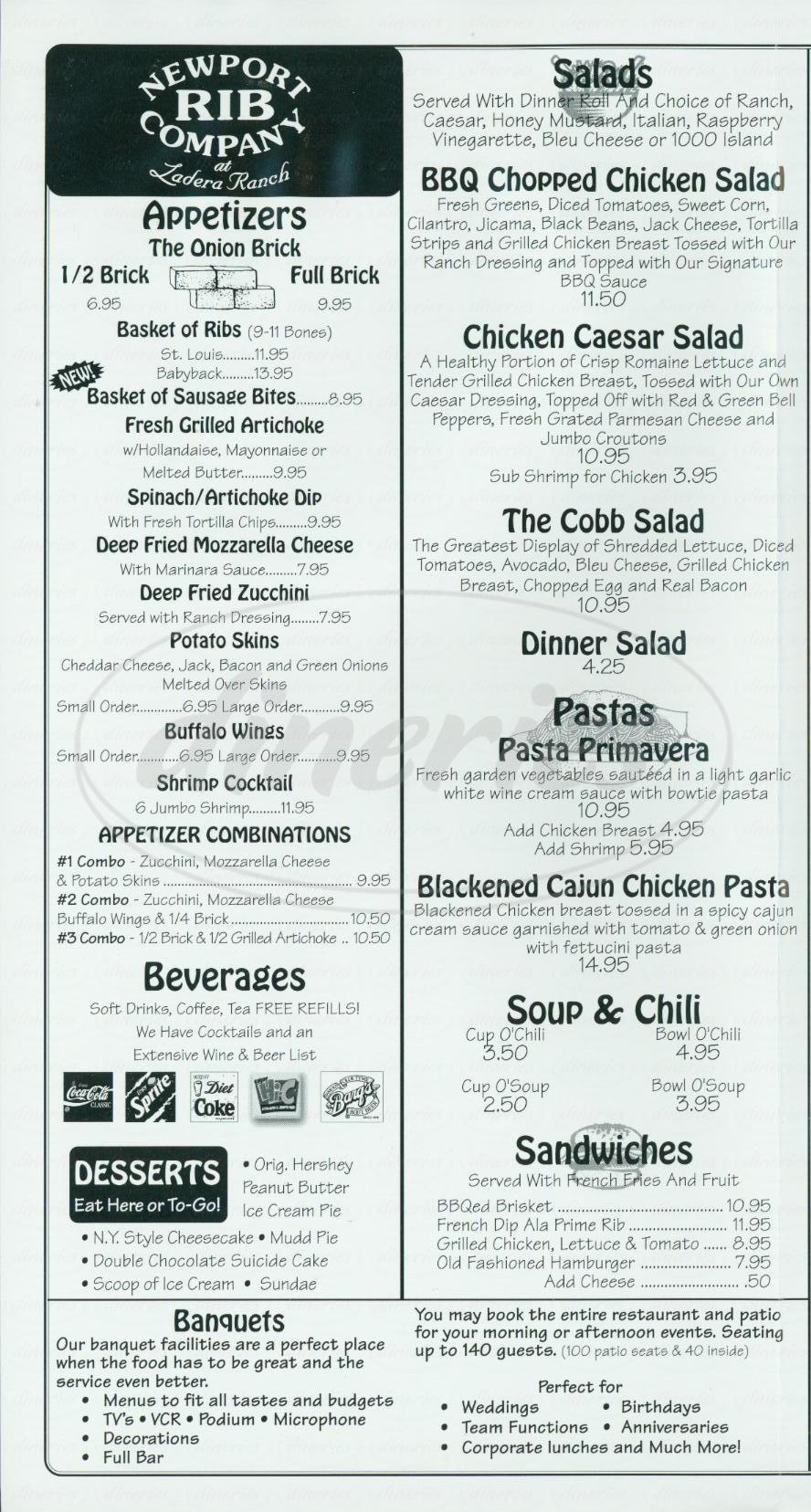 menu for Newport Rib Company