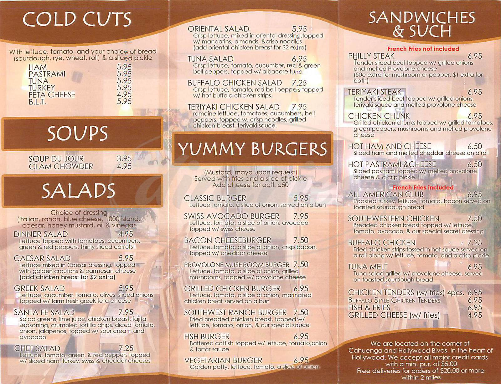 menu for California Wings Café