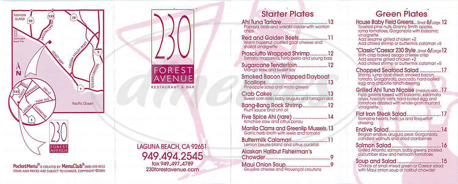 menu for 230 Forest Avenue Restaurant & Bar