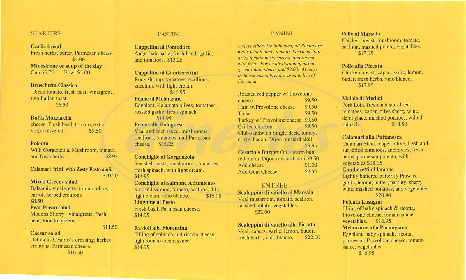 menu for Cesarios