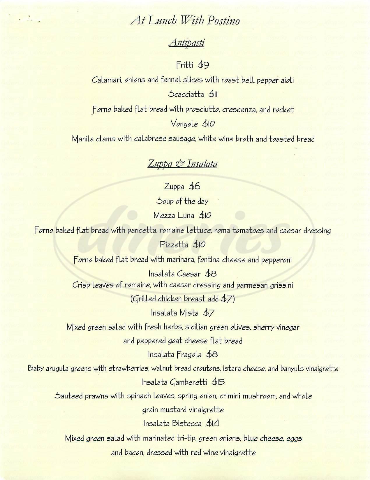 menu for Postino