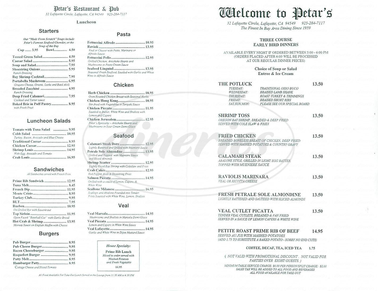 menu for Petars Restaurant