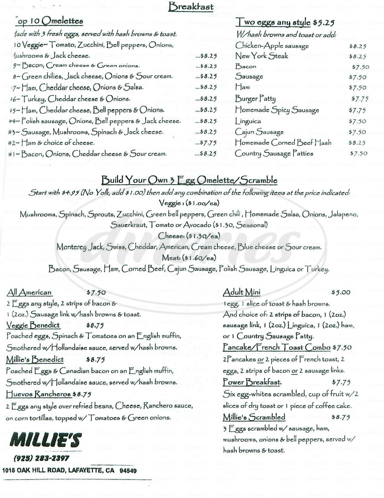 menu for Millies Kitchen