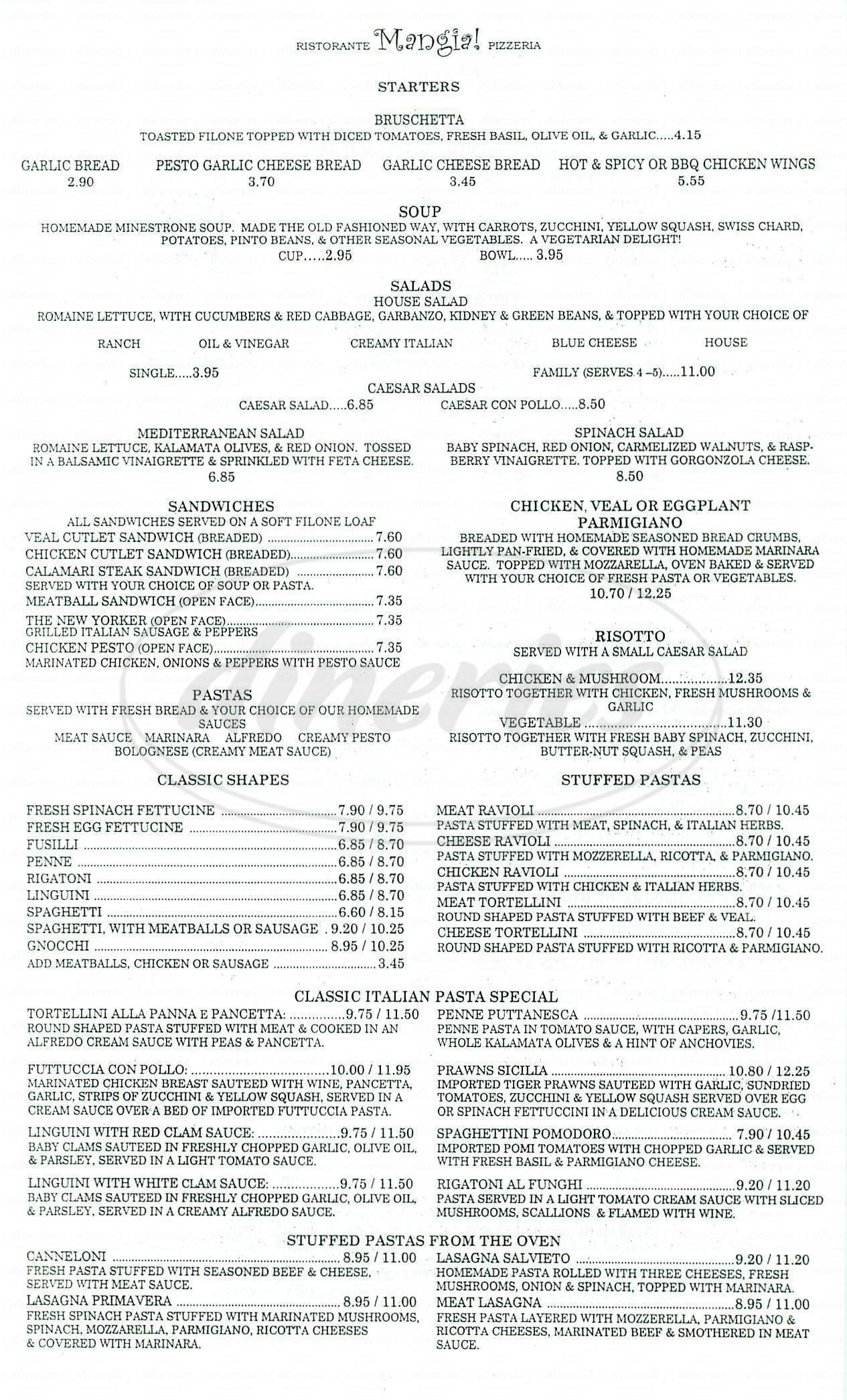 menu for Mangia Ristorante Pizzeria