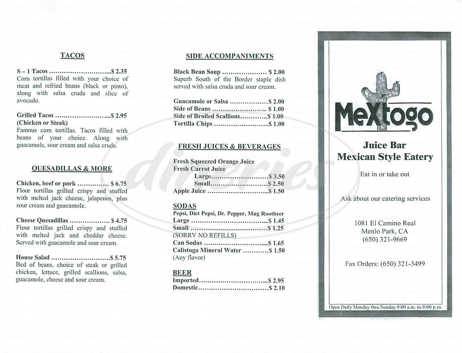 menu for Mextogo