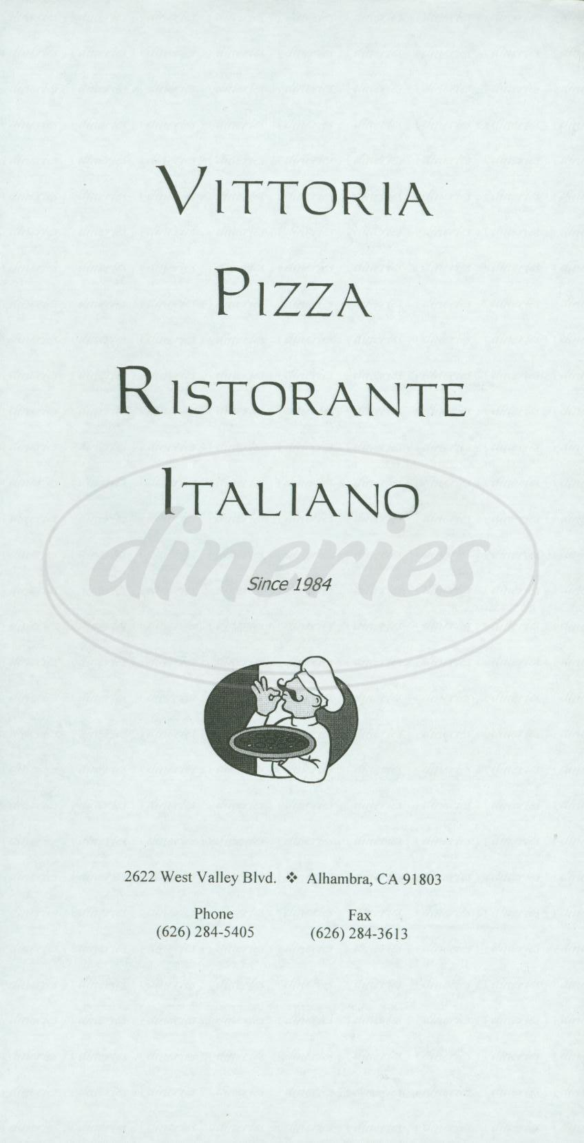 menu for Vittoria Pizza