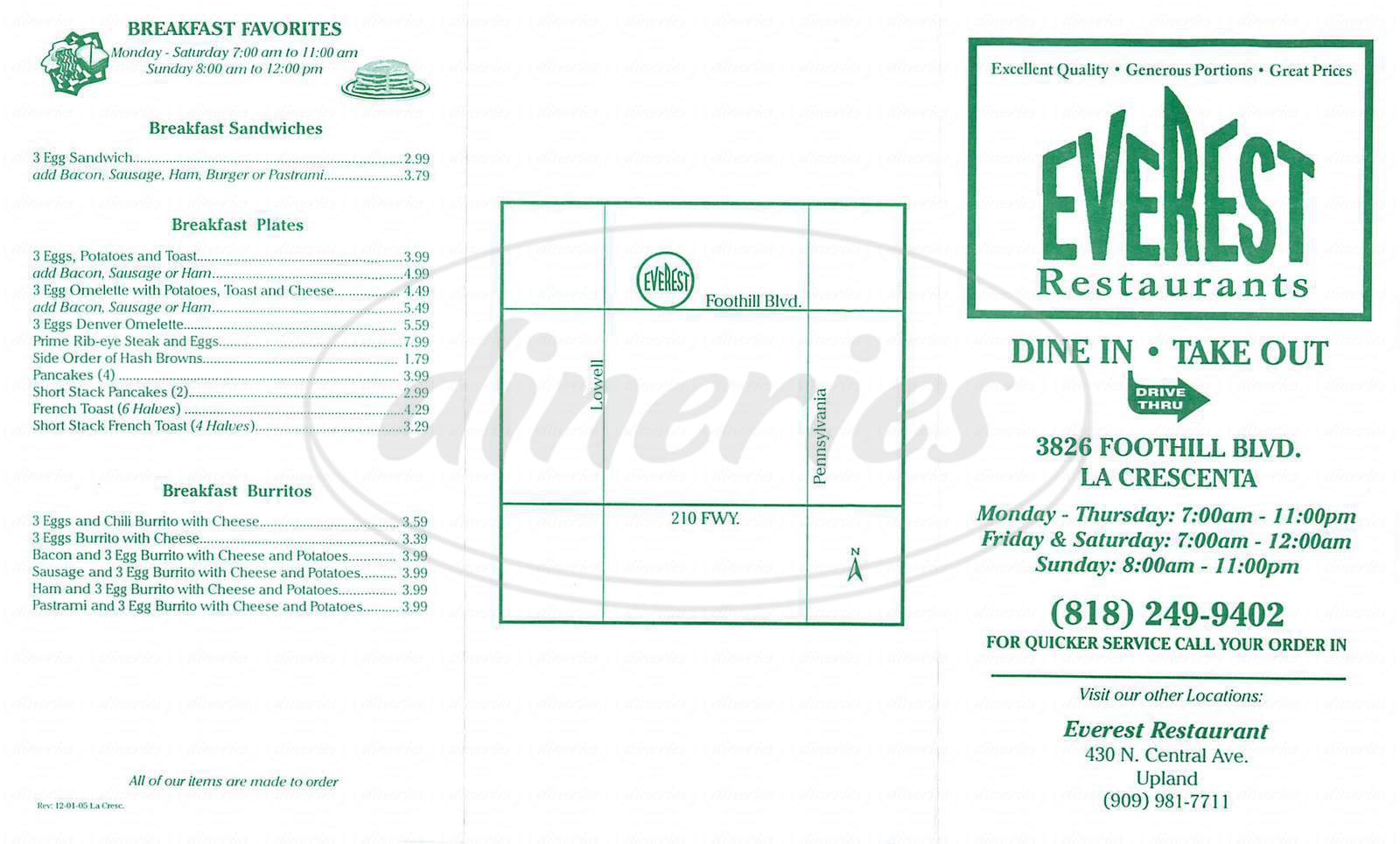 menu for Everest Restaurant