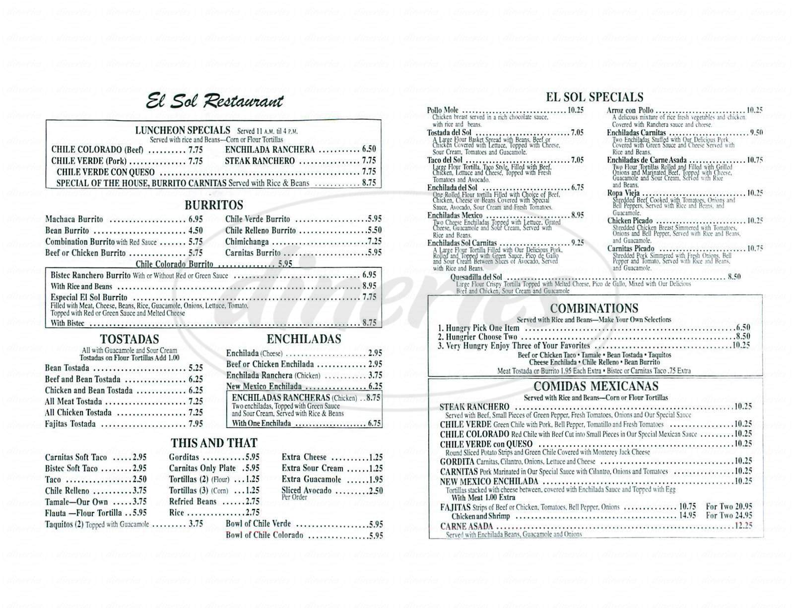menu for El Sol Restaurant
