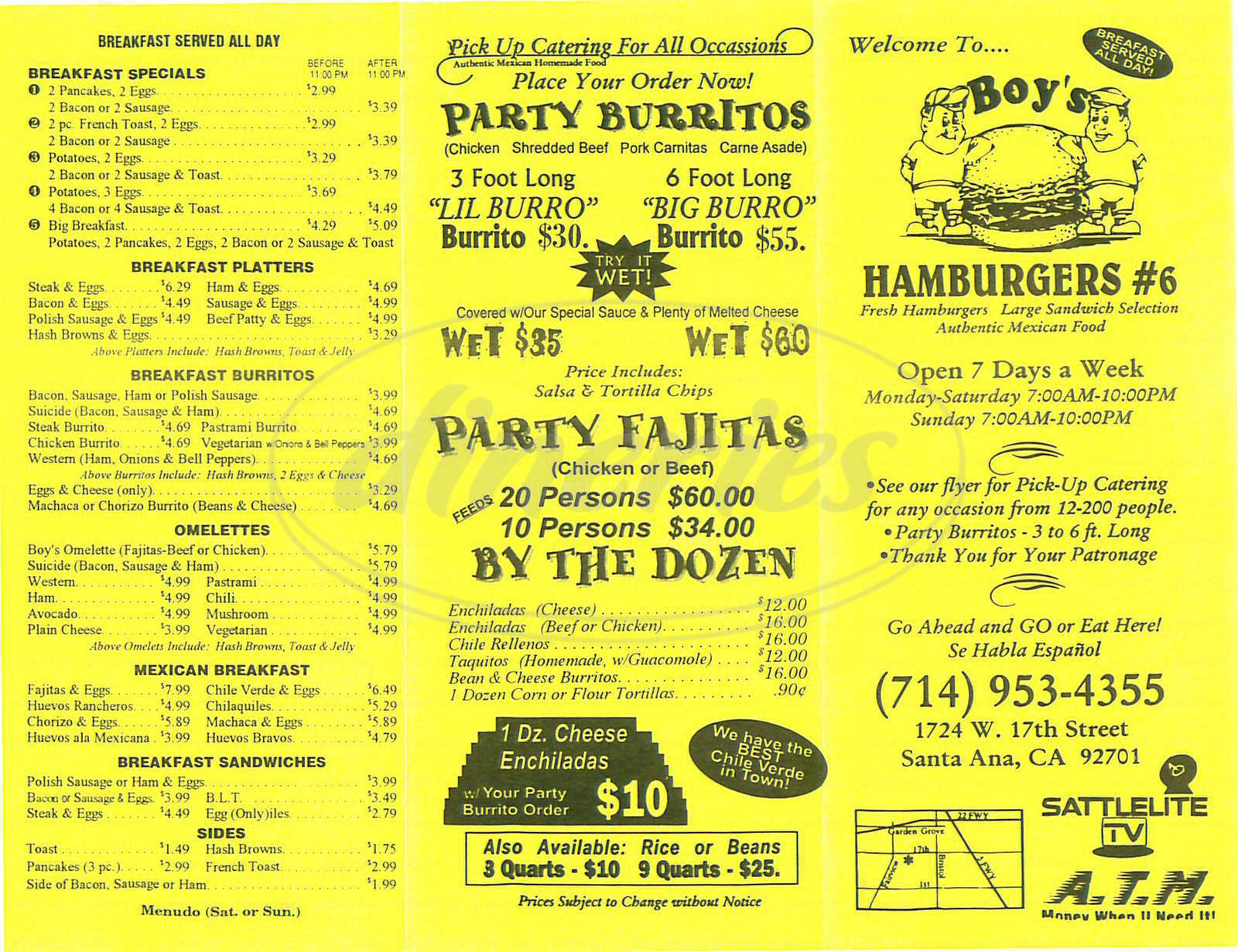 menu for Boys Hamburgers