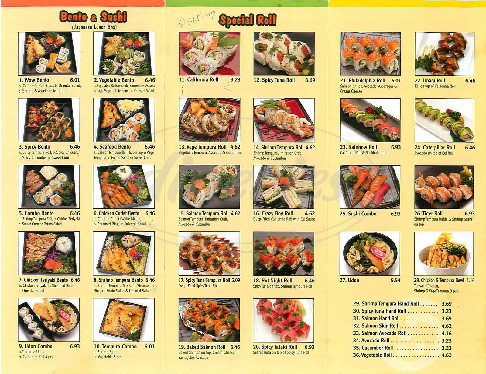 menu for Wow Bento & Roll