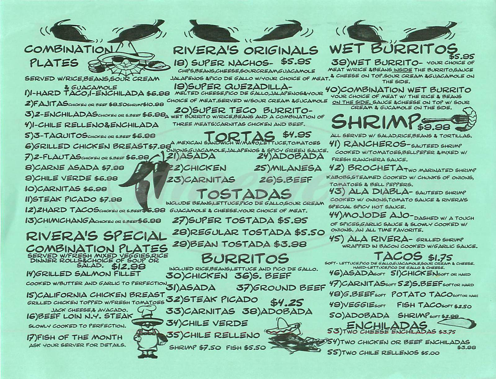 menu for Riveras Mexican Restaurant