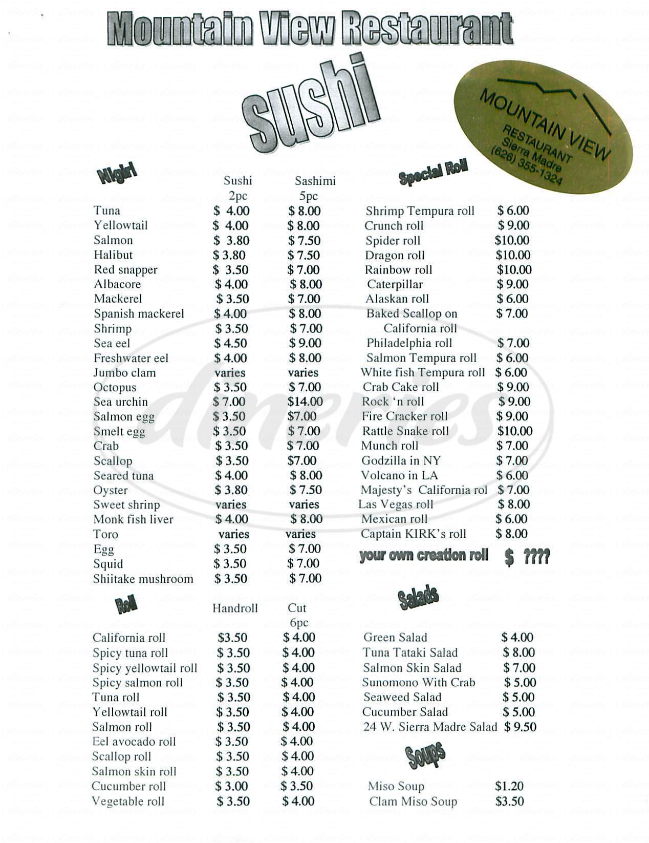 menu for Mountain View Sushi