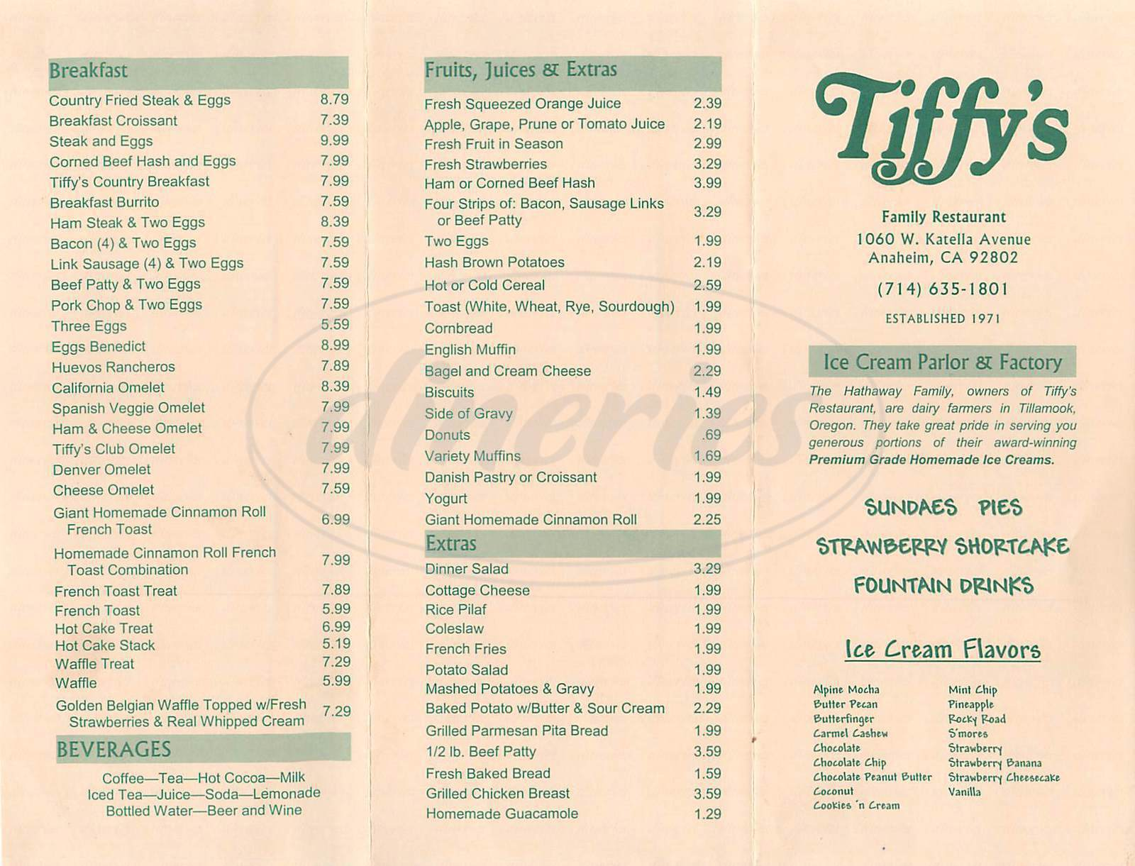 menu for Tiffys Family Restaurant