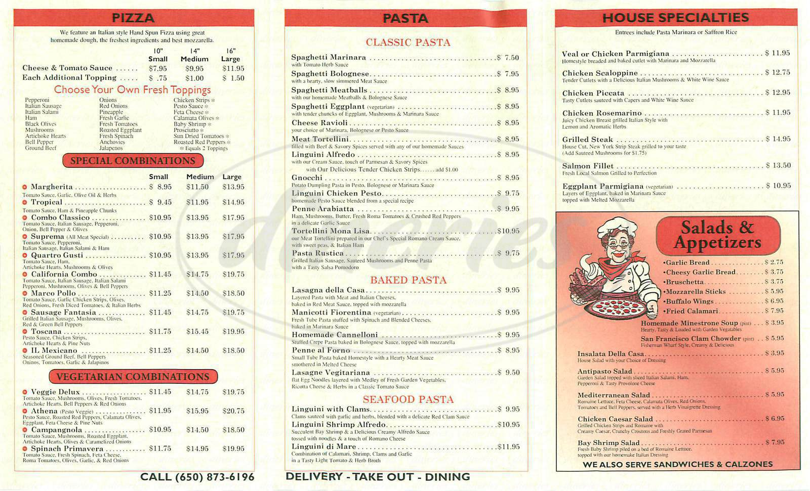 menu for Cecilias Pizza