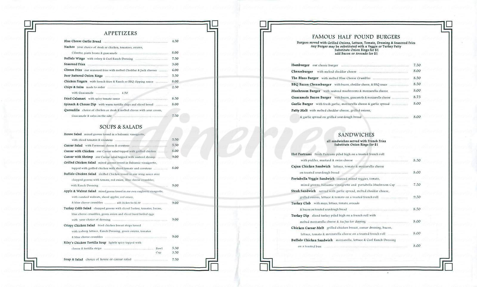 menu for Riley's Belmont Shore