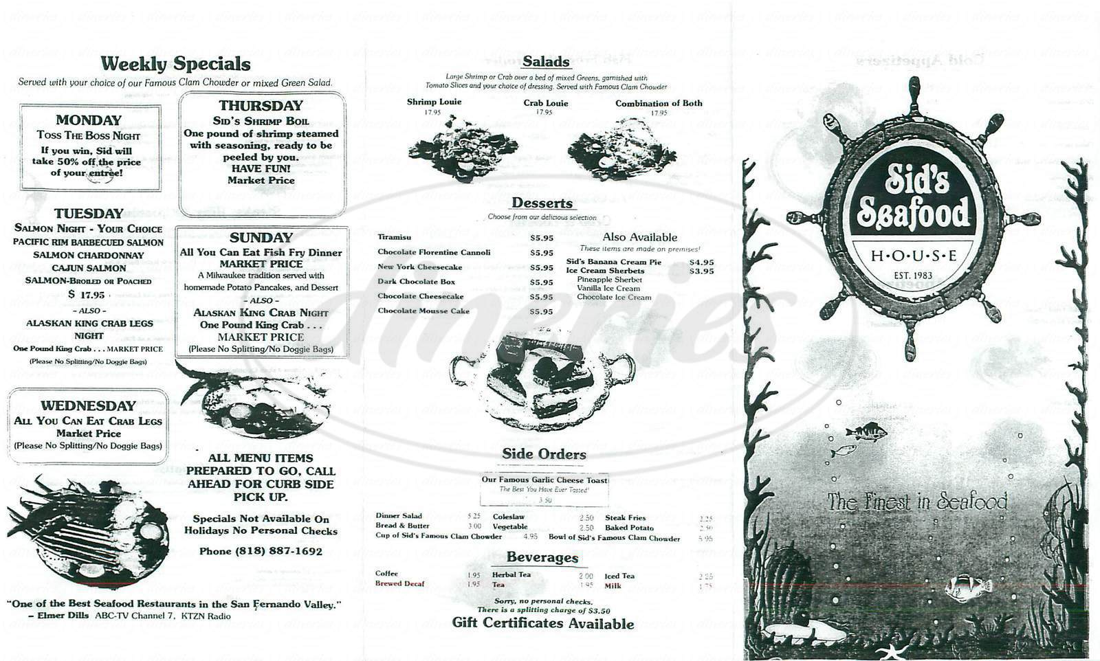 menu for Sids Seafood House