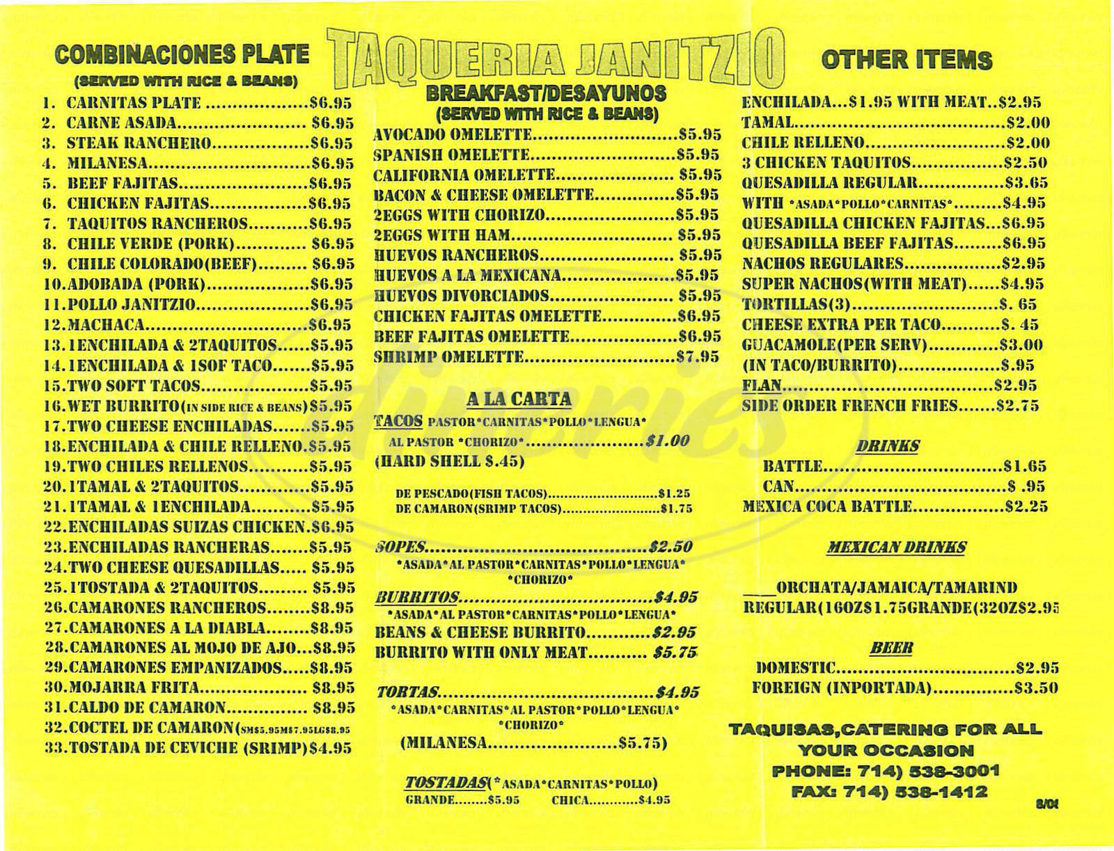 menu for Taqueria Janitzio