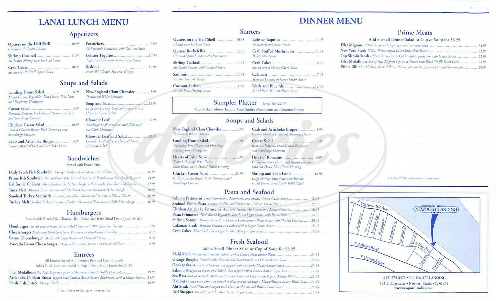 Big menu for Newport Landing Restaurant, Newport Beach