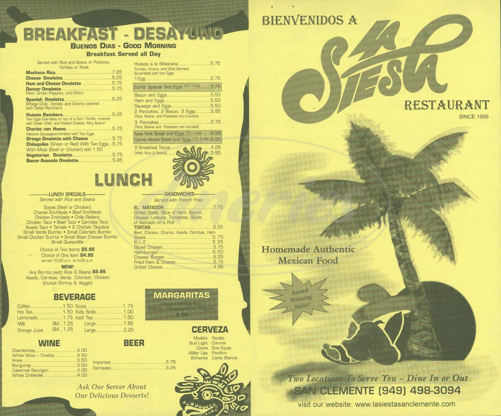 menu for La Siesta