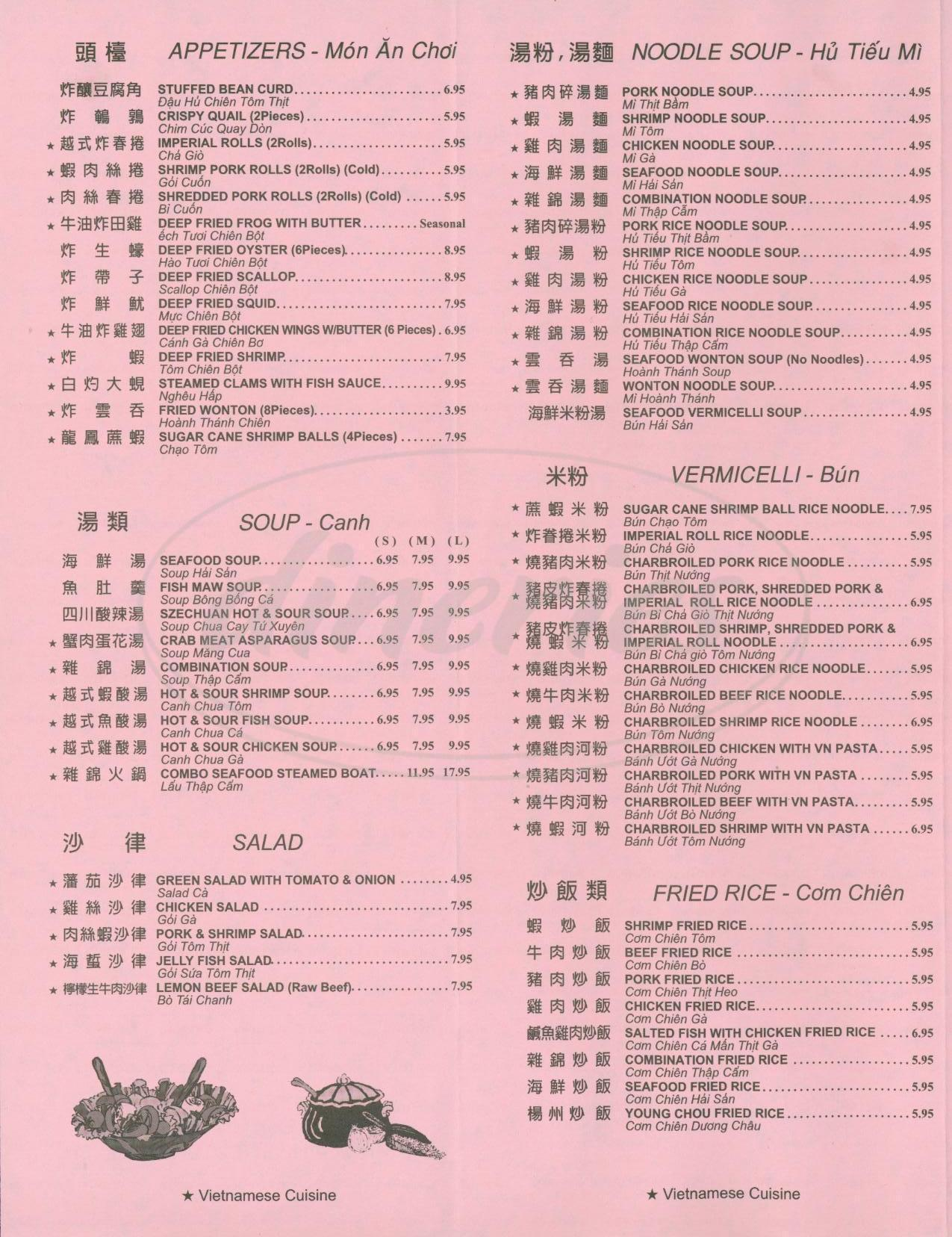 menu for Kim Thanh Restaurant