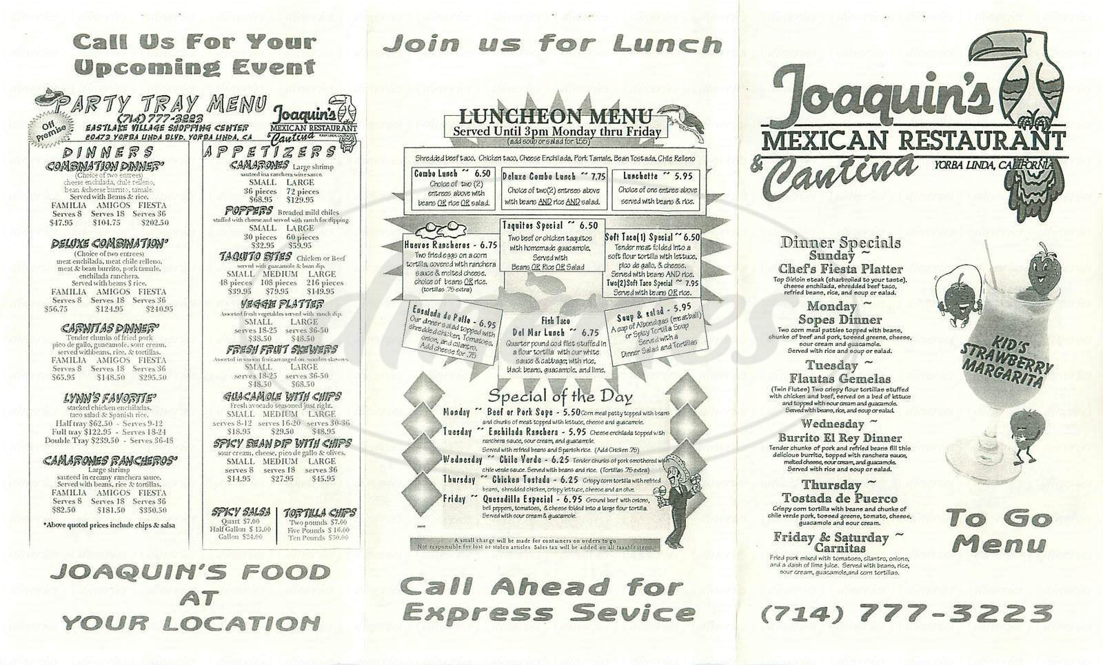 menu for Joaquin's Mexican Restaurant