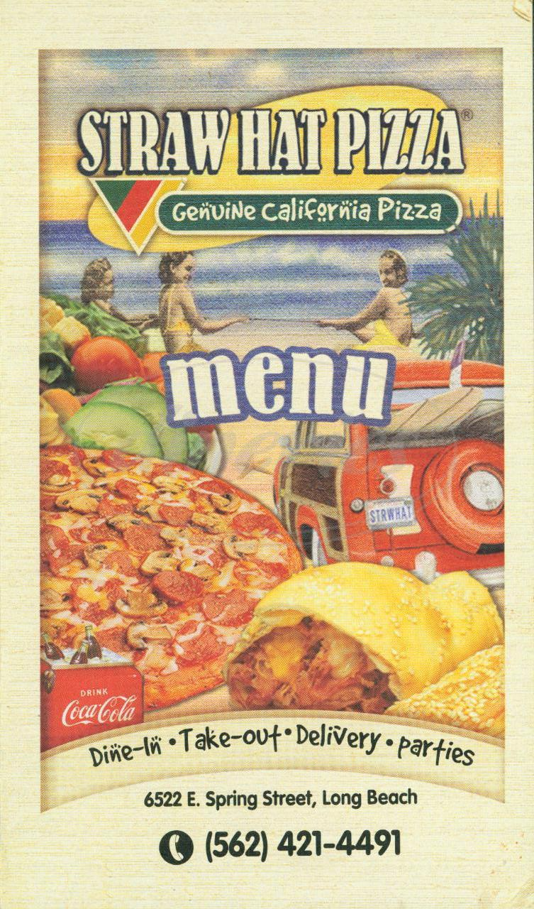 menu for Straw Hat Pizza
