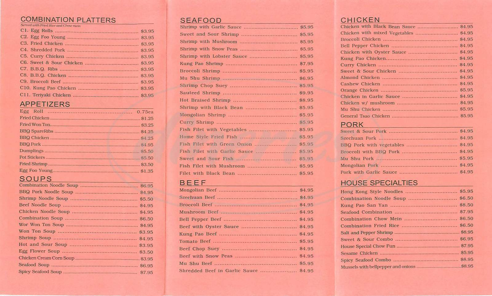 menu for China Lee