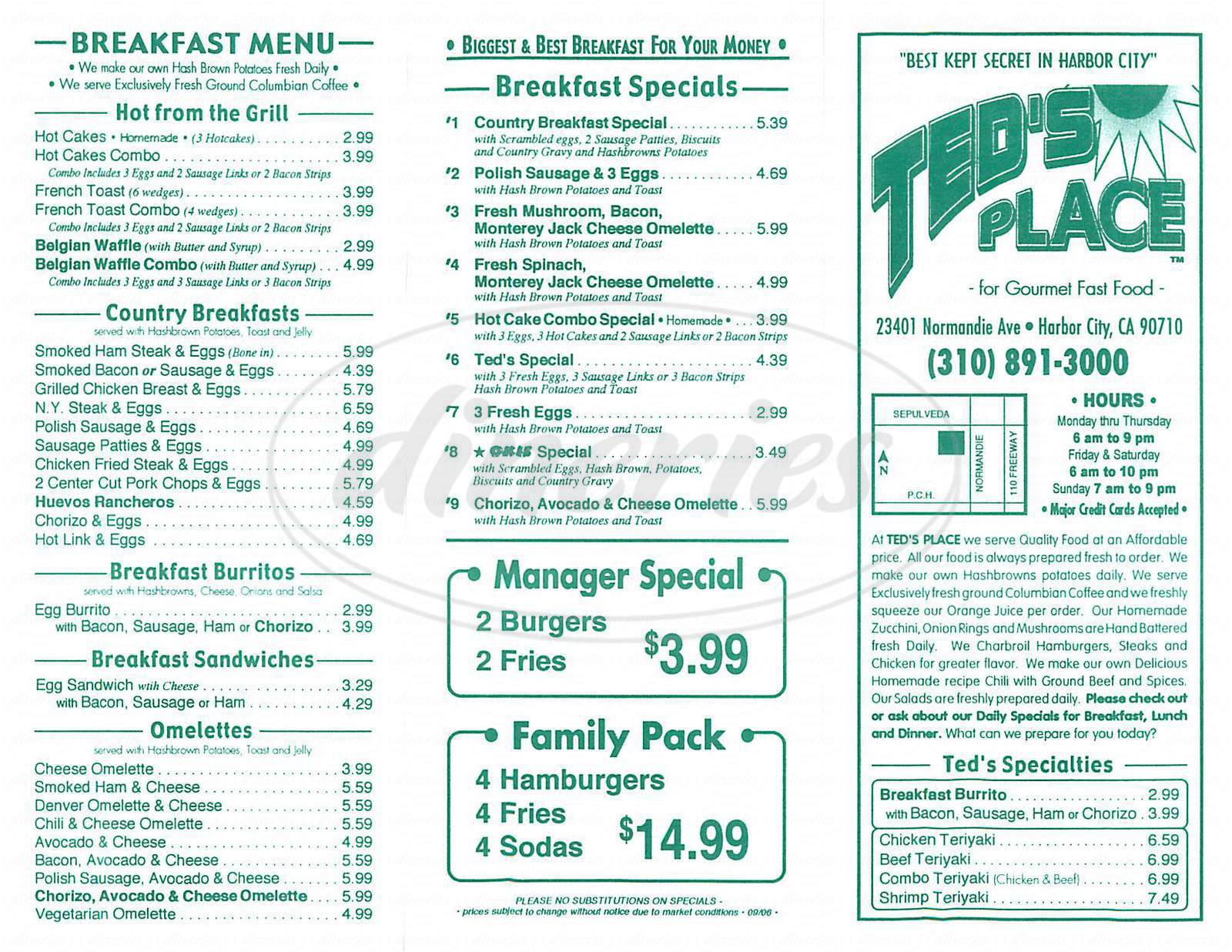 menu for Teds Place