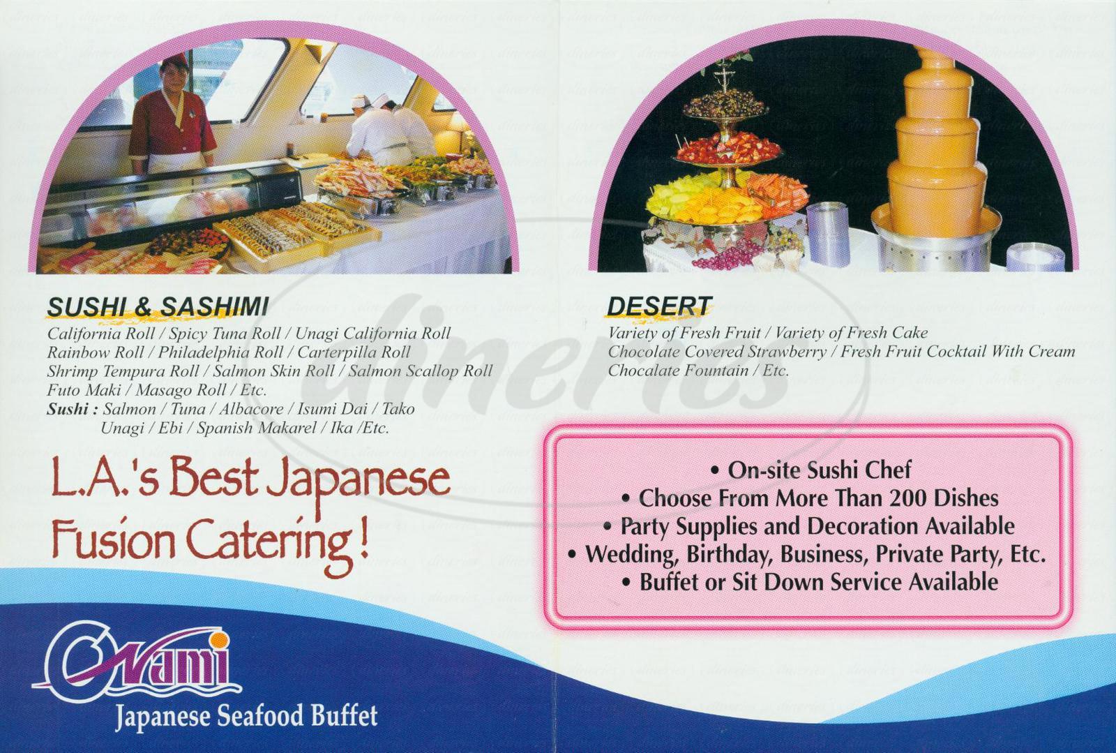 menu for Raku Raku