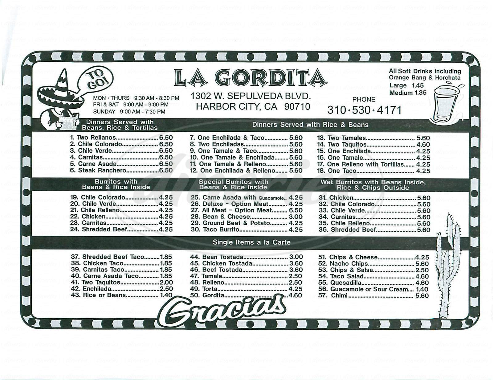 menu for La Gordita Restaurant
