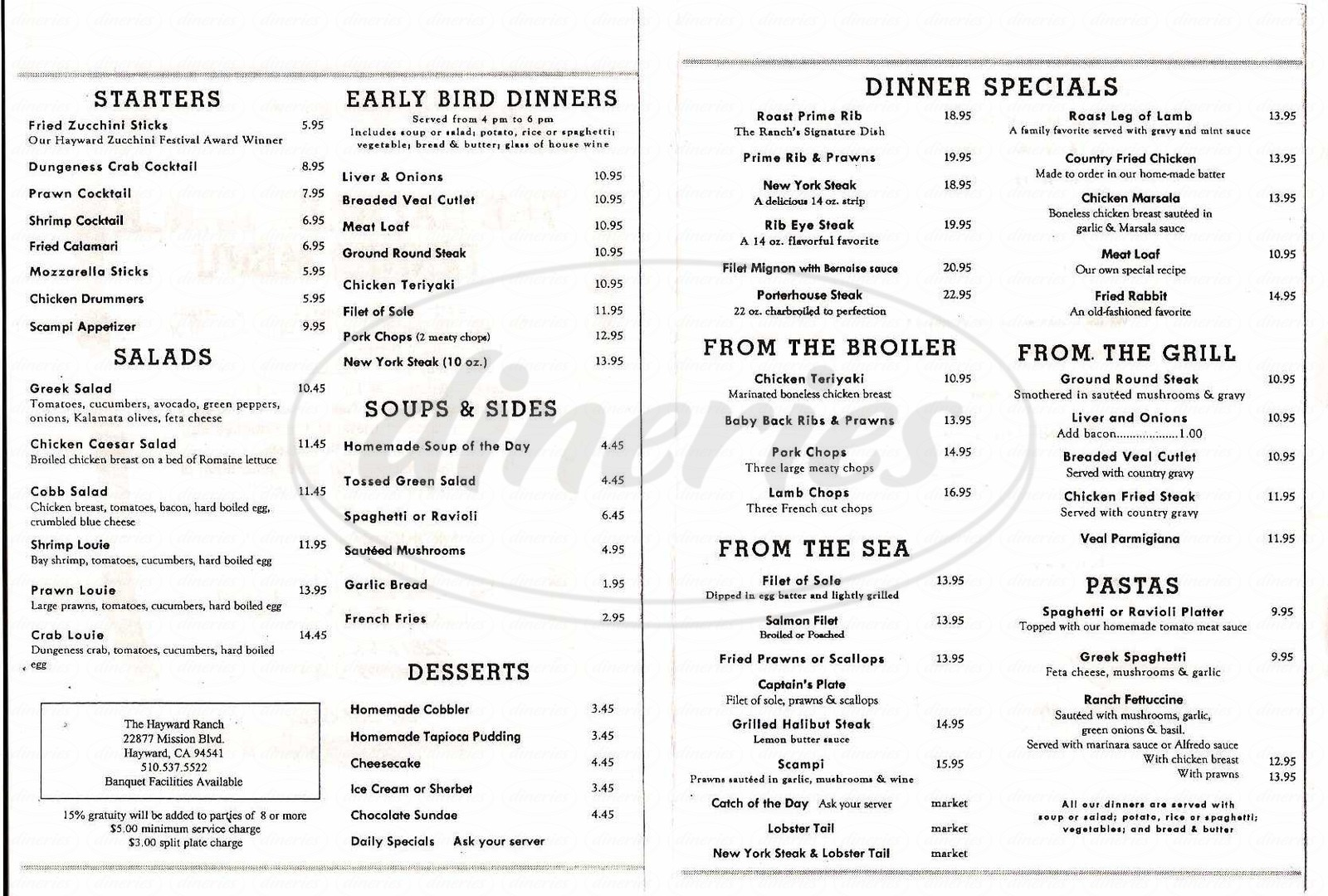 menu for The Hayward Ranch