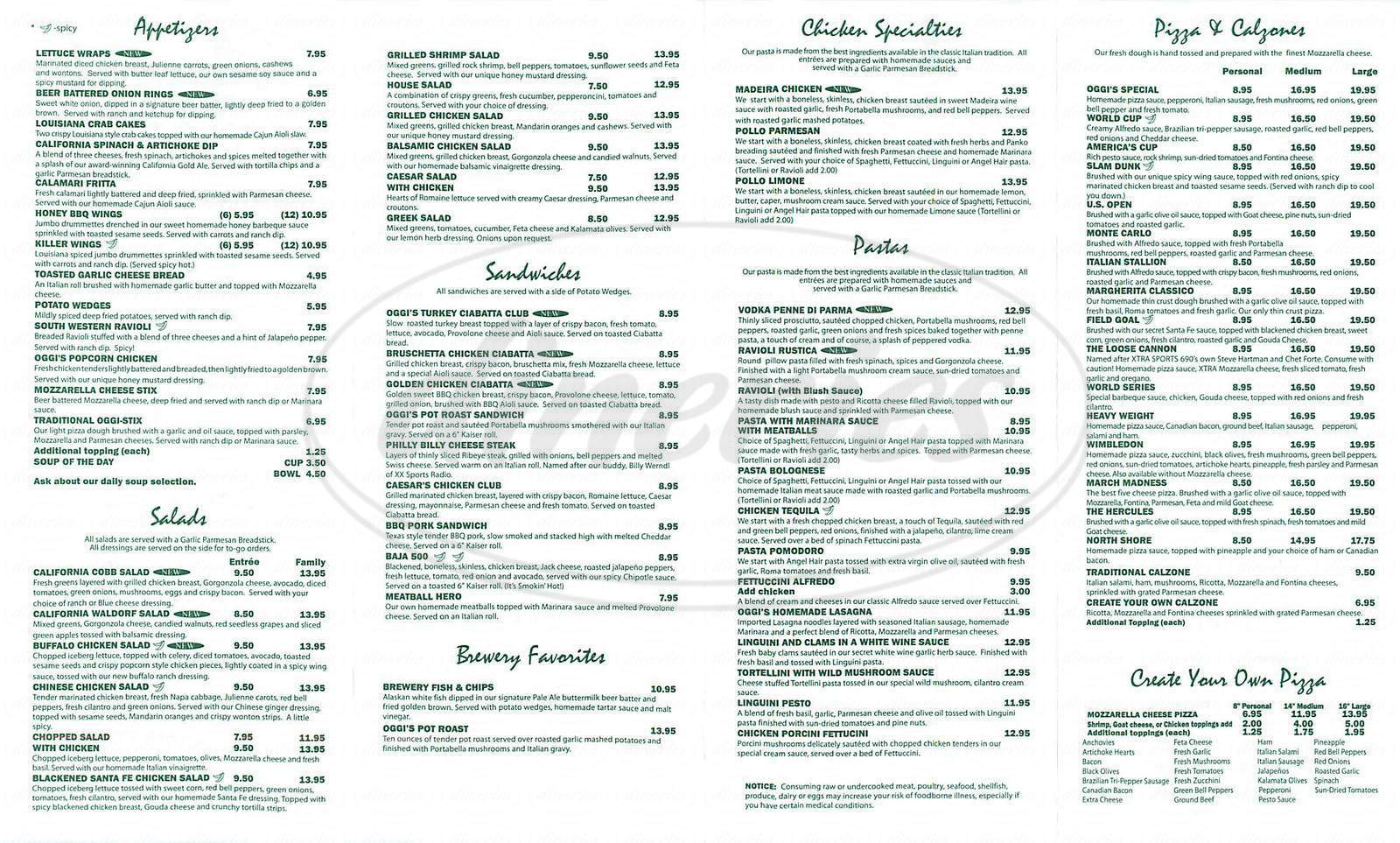 menu for Oggi's Pizza & Brewing Co.