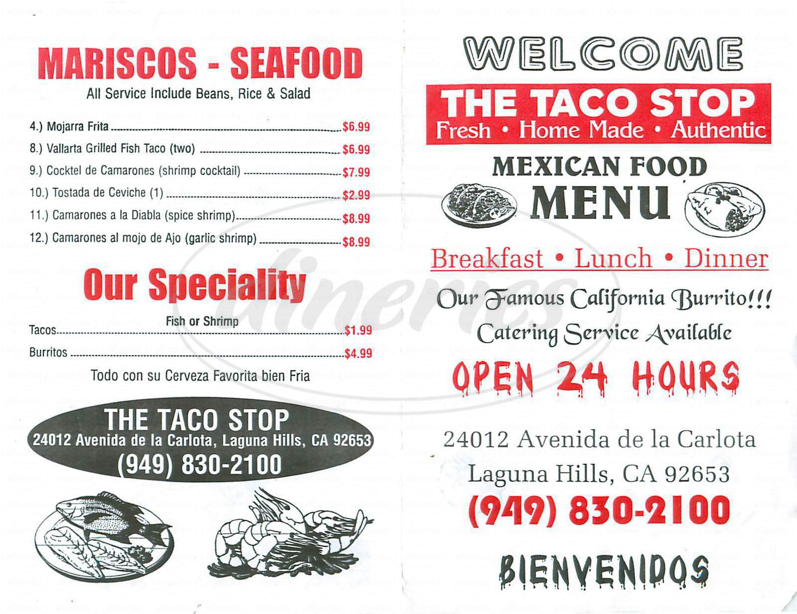 menu for The Taco Stop