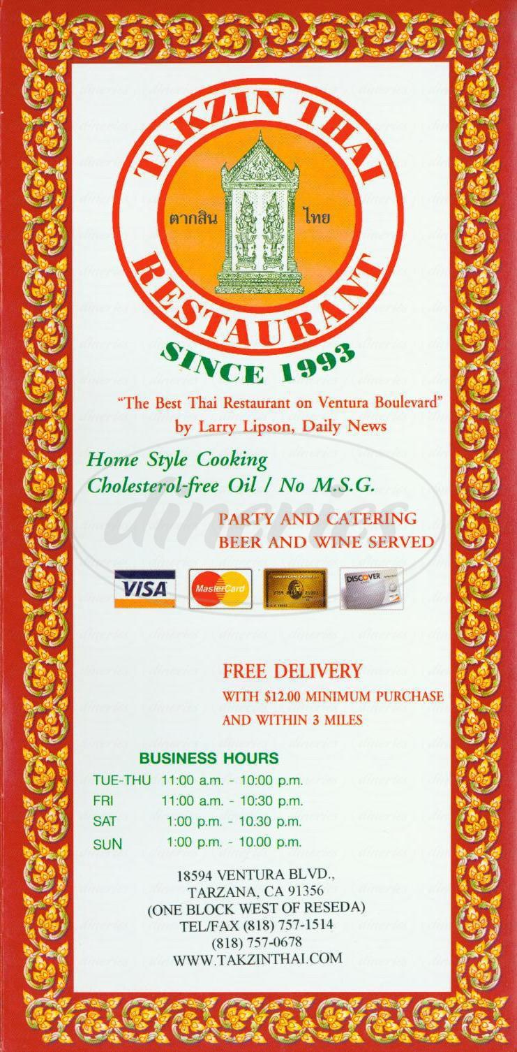 menu for Takzin Thai Restaurant