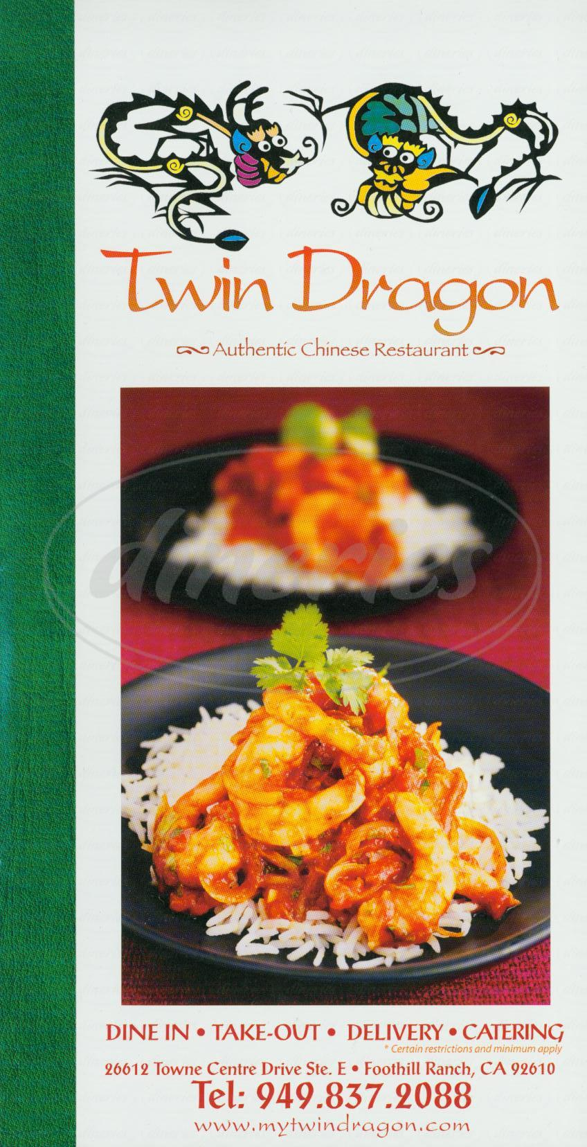 Big menu for Twin Dragon Chinese Restaurant, Foothill Ranch