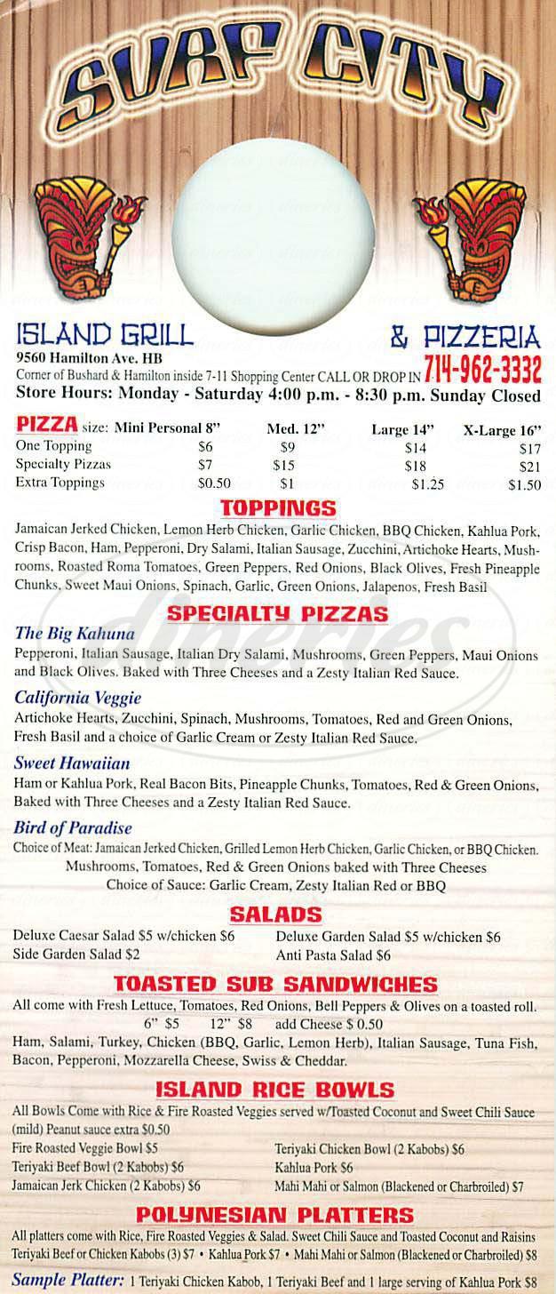 menu for Surf City Island Grill & Pizzeria