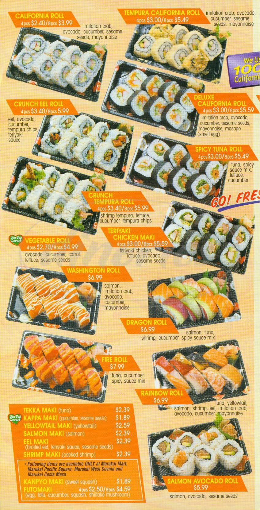 menu for Sushi Boy