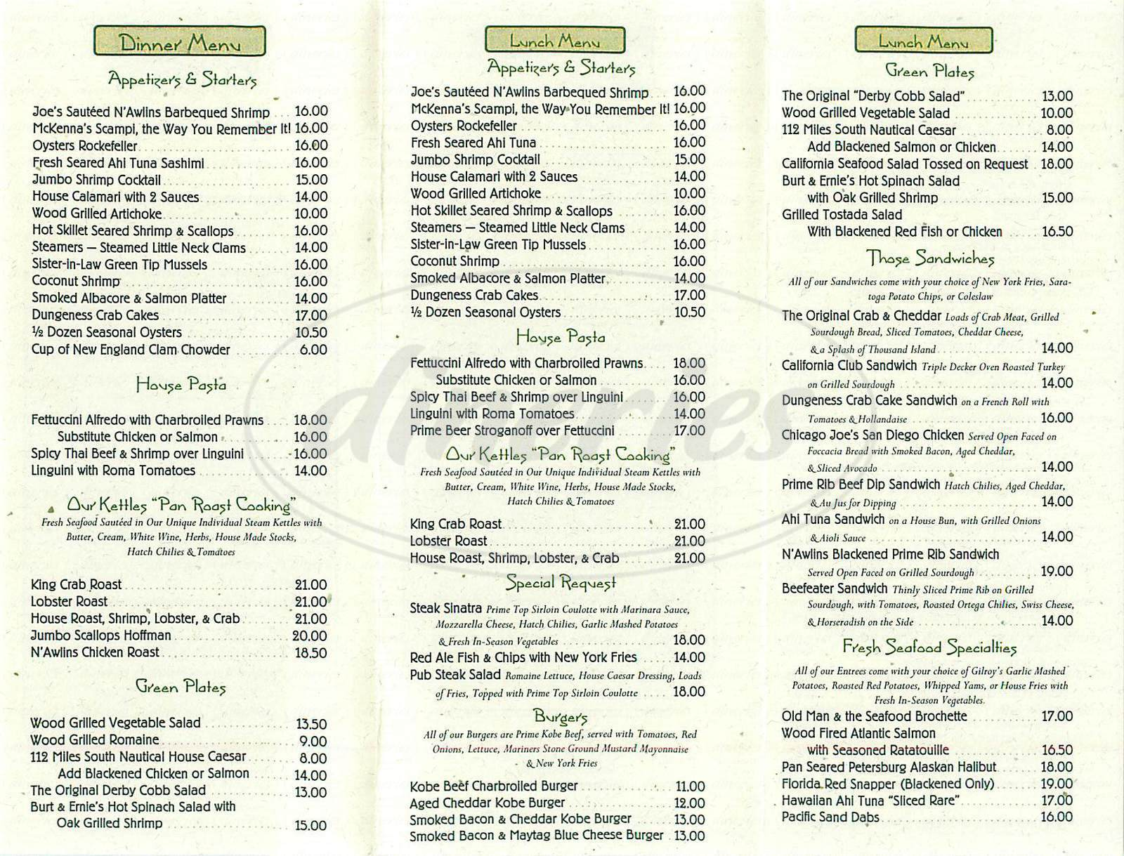 menu for McKennas On The Bay