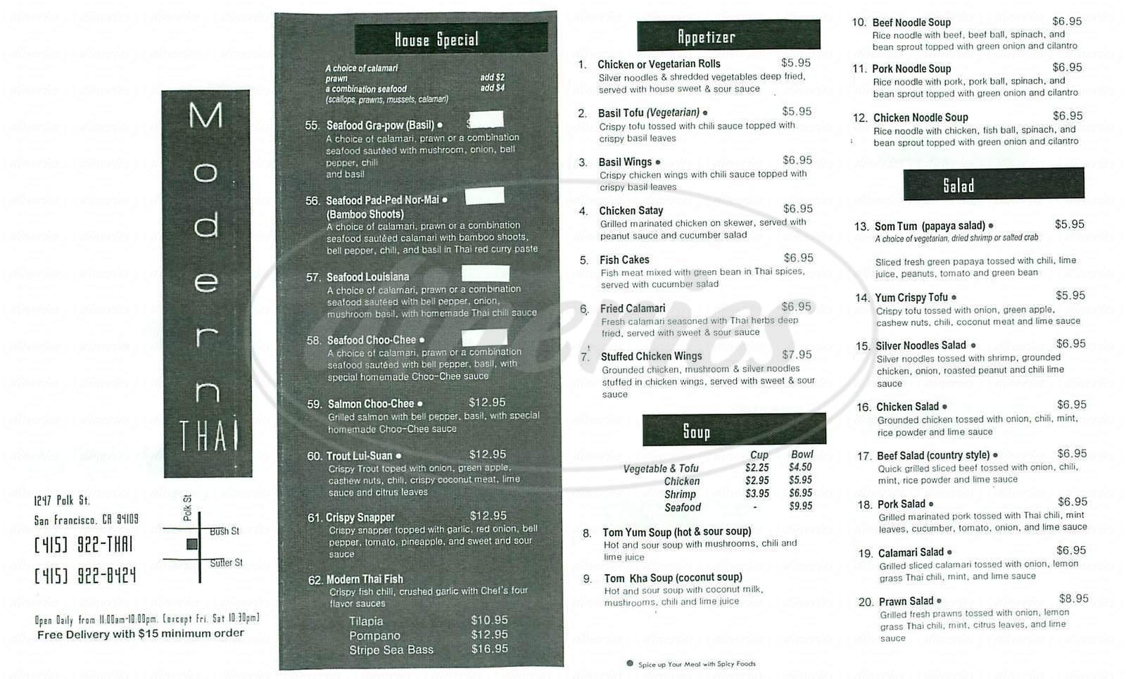 menu for Modern Thai