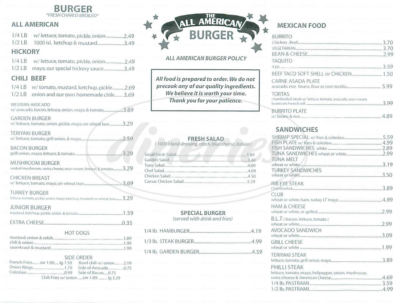 menu for All American Burger
