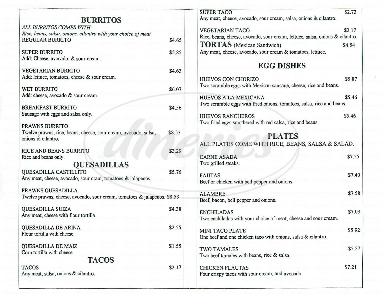 menu for Taqueria Castillito