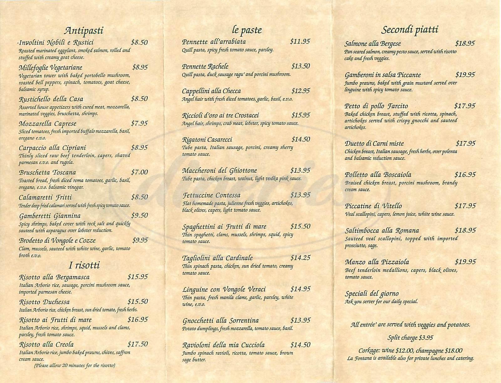menu for La Fontana