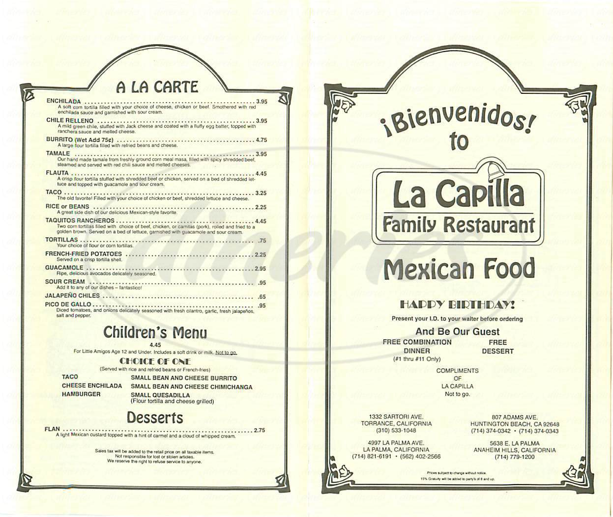 menu for La Capilla