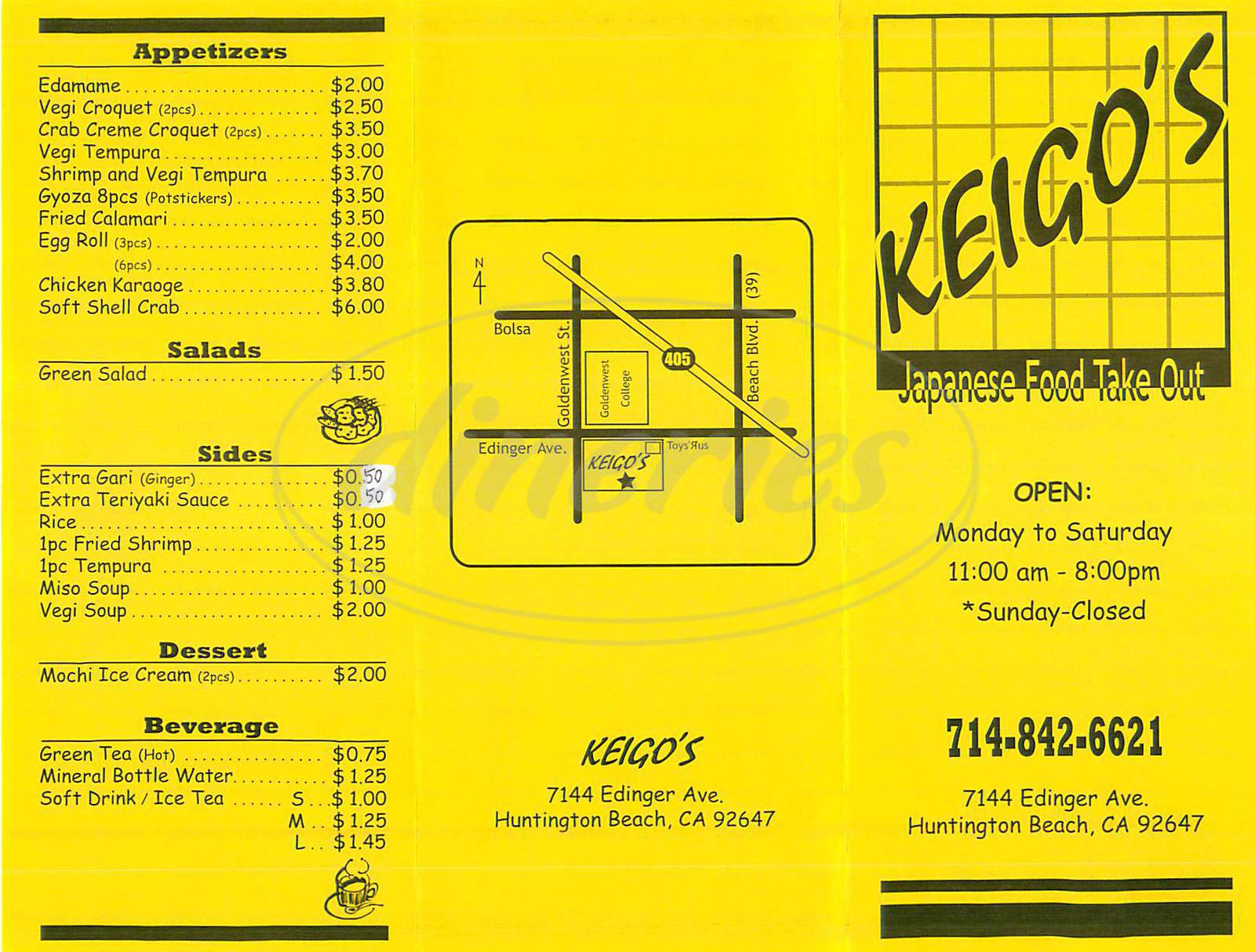 menu for Keigos Japanese Food Take Out