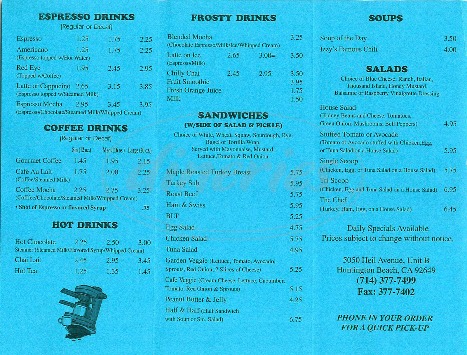 menu for Izzys Café & Coffee House
