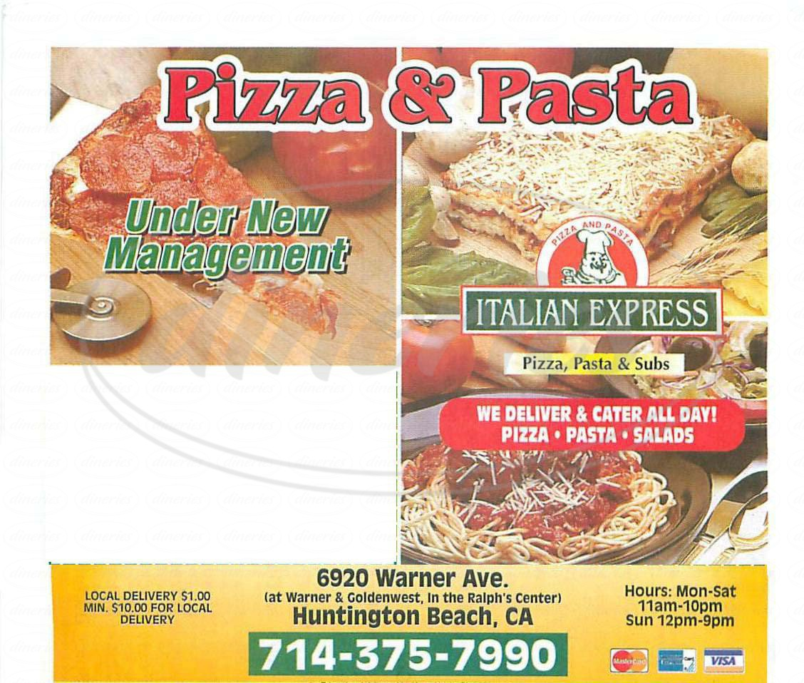 menu for Italian Express Pizza