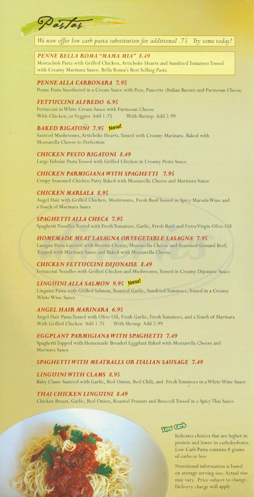 menu for Bella Roma