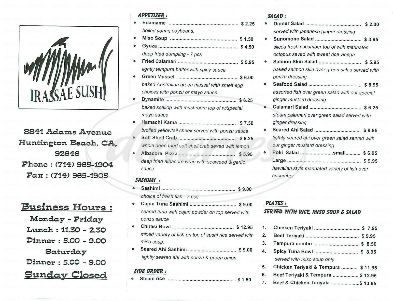 menu for Irassae Sushi