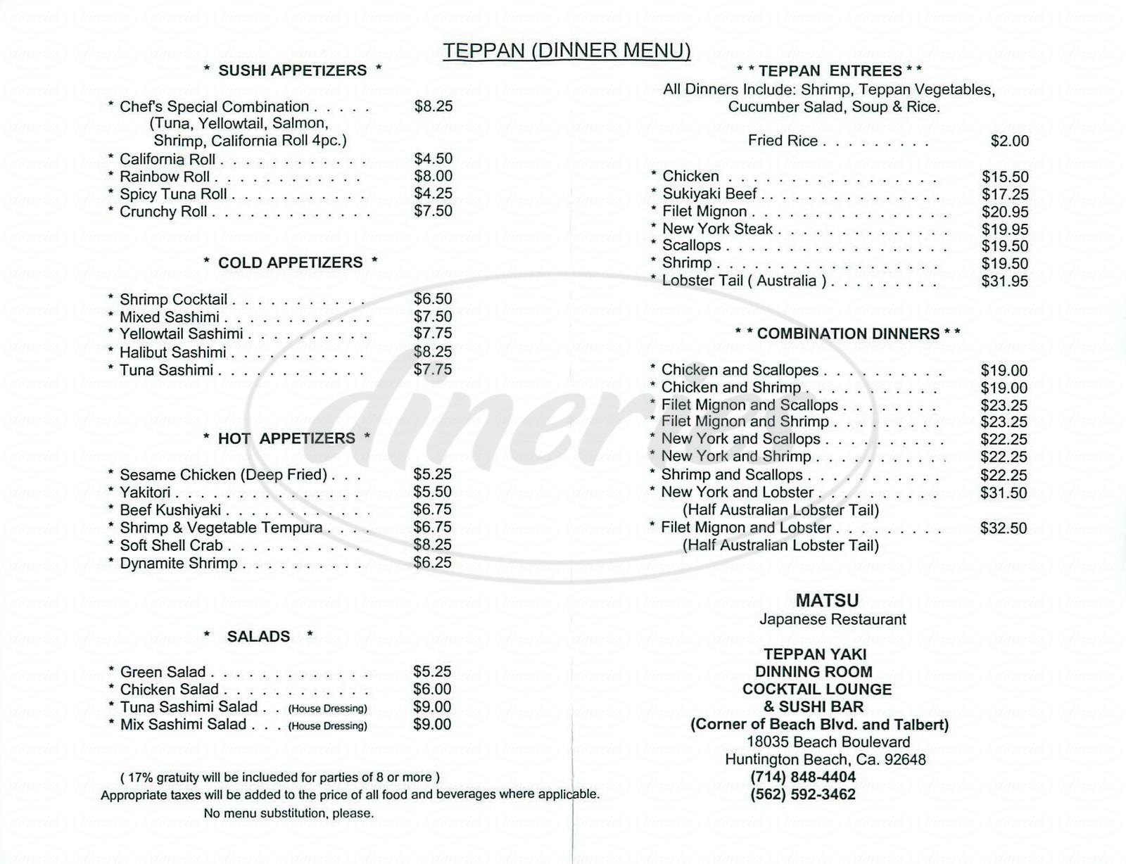 menu for Matsu
