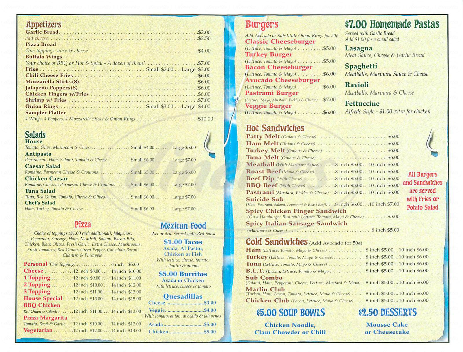 menu for Marlin Bar and Grill